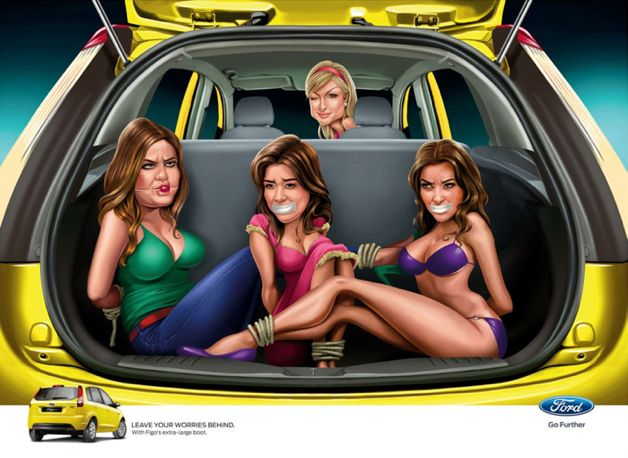 The Kardashian sisters are seen bound and gagged in the back of a Ford Figo with Paris Hilton in the driver's seat in illustrations produced by an Indian ad agency