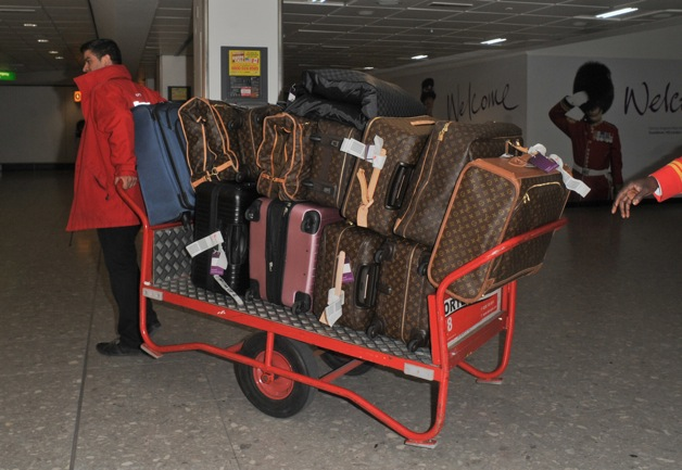 Luggage of the Kardashians seen at Heathrow Airport in London