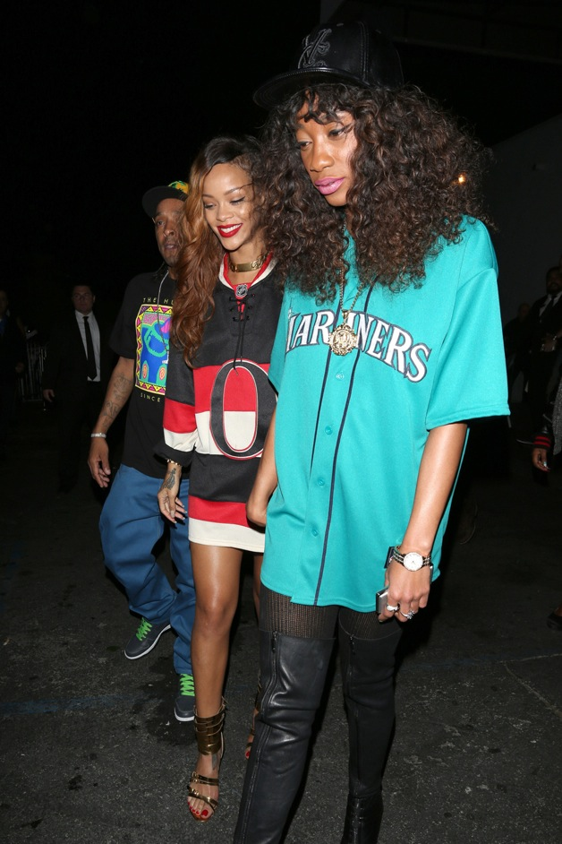 Singer Rihanna seen at Greystone night club with friend Melissa in Beverly Hills