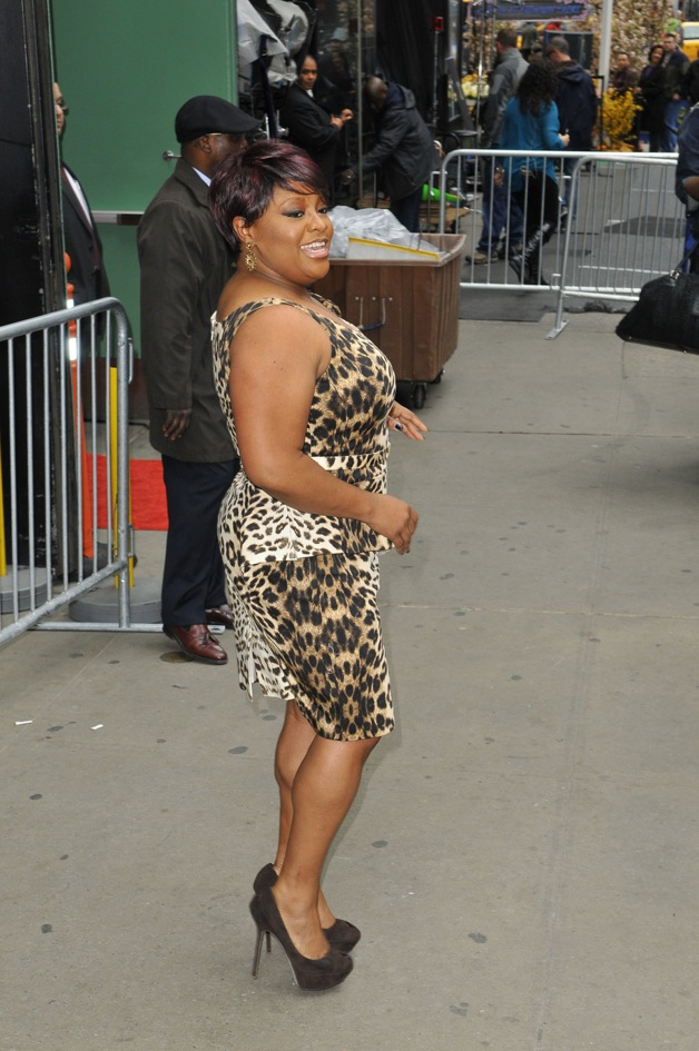 Sherri Shepherd is seen leaving 'Good Morning America' show in her animal print short dress in New York City