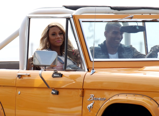 **EXCLUSIVE** Tamar Braxton hops in an orange Bronco on the set of her new music video in Los Angeles