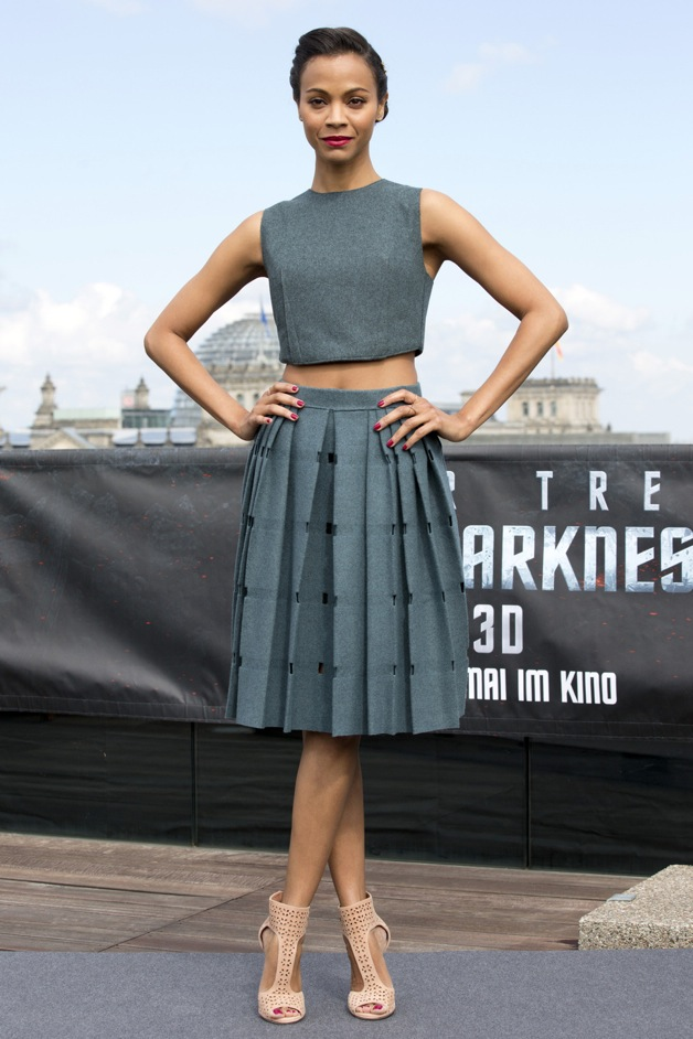 Zoe Saldana poses during the 'Star Trek Into Darkness' photocall in Berlin