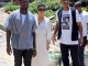 A pregnant Kim Kardashian, Kanye West and Will Smith, accompanied by multiple bodyguards, take a walking tour Vidigal in Brazil
