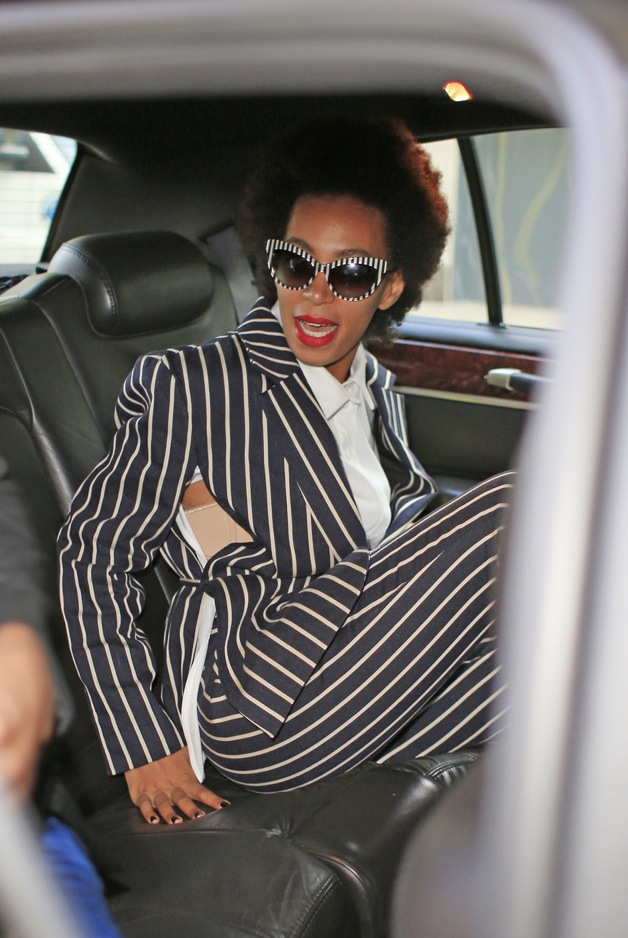 Solange Knowles wears her eclectic style while checking out of the Mark Hotel in New York City