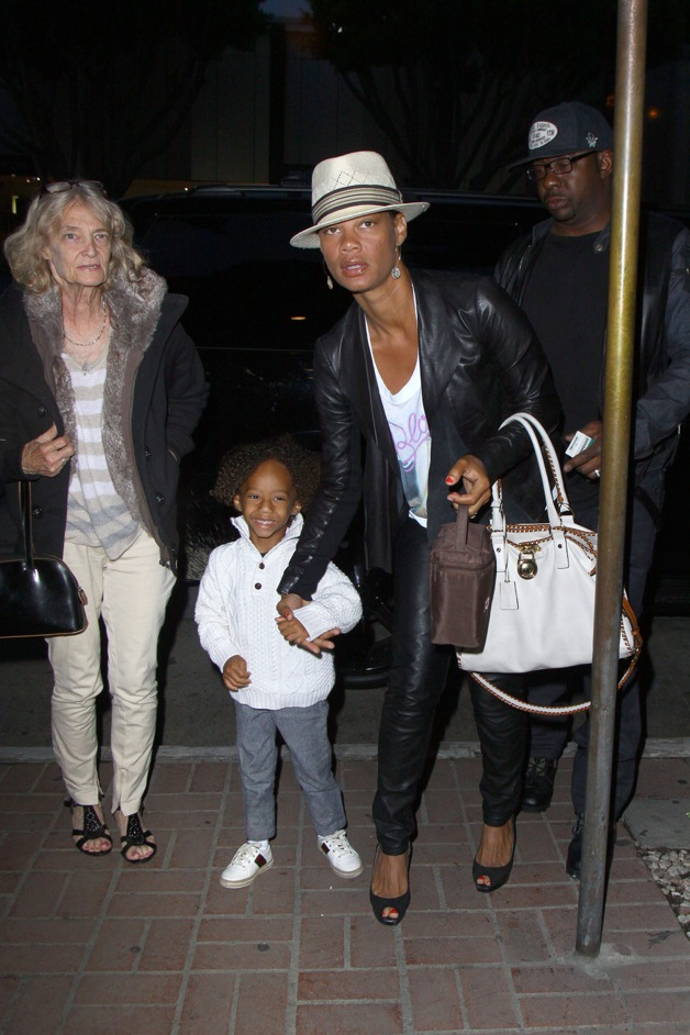 Bobby Brown and ex wife Alicia Etheredge with son, Cassius Brown, seen with his family for dinner at Madeo Restaurant in West Hollywood