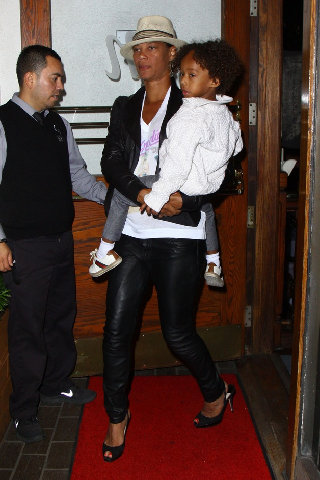 Bobby Brown's ex wife, Alicia Etheredge with son Cassius Brown, seen with his family for dinner at Madeo Restaurant in West Hollywood