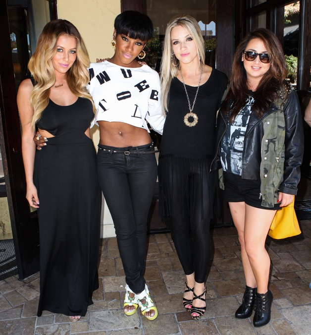 Aubrey O'Day, Dawn Richard, Shannon Bex and Aundrea Fimbres of 'Danity Kane' back together for the first time pose for pictures after a lunch meeting at Maggiano's Restaurant in Los Angeles