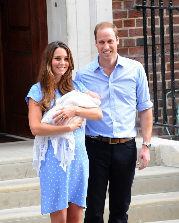Kate Middleton and Prince William show off their newborn son to the public in London