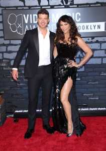 Robin Thicke and Paula Patton attend the 2013 MTV Video Music Awards at the Barclays Center in the Brooklyn borough of New York City