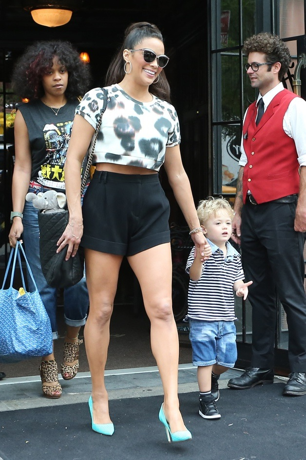 Actress Paula Patton Seen Leaving The The Bowery Hotel With Son