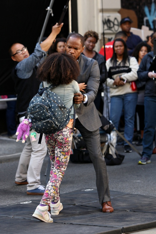 FIRST ON SET PHOTOS: Jamie Foxx and Quvenzhane Wallis film scenes for 'Annie' in New York City