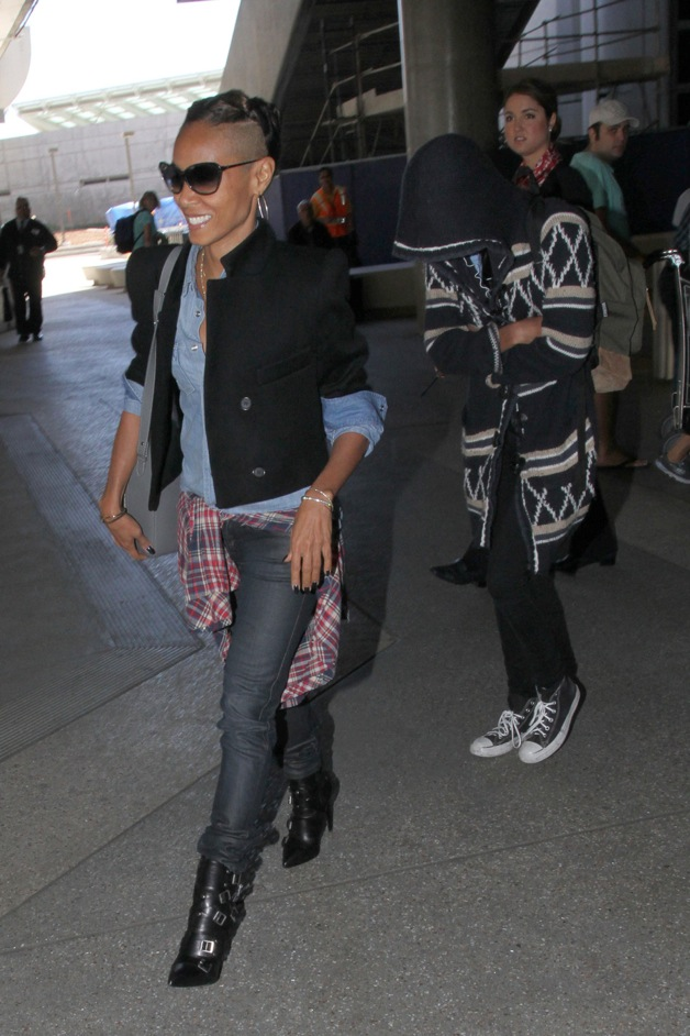 Jada Pinkett Smith and Willow Smith seen making their way through LAX