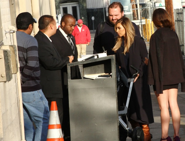 Kim Kardashian arrives to the Jimmy Kimmel studio for an appearance on Jimmy Kimmel Live! in Hollywood