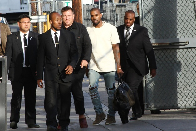 Kanye West arrives to Jimmy Kimmel studio for an appearance on Jimmy Kimmel Live! in Hollywood