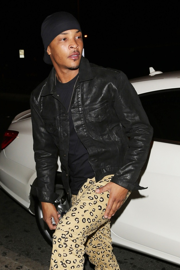 Clifford Joseph Harris, Jr. aka T.I. arrives at Bootsy Bellows to celebrate Usher's birthday in West Hollywood