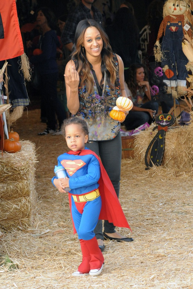 Tia Mowry and her son Cree, dressed in a Superman costume visit Mr. Bones Pumpkin Patch in Beverly Hills