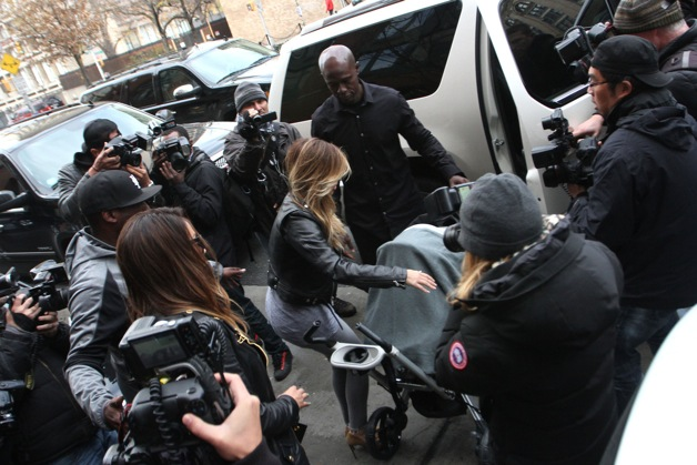Kim Kardashian and Lala Anthony out for a walk in Soho with baby North