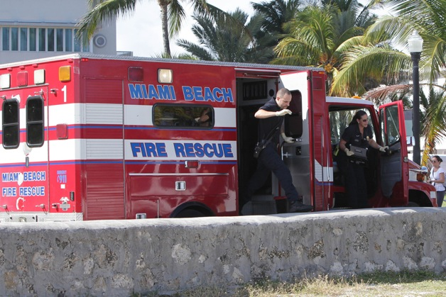 British singer Rita Ora is taken to the hospital by ambulance after becoming unwell on the set of her 'Material Girl' photo shoot in Miami