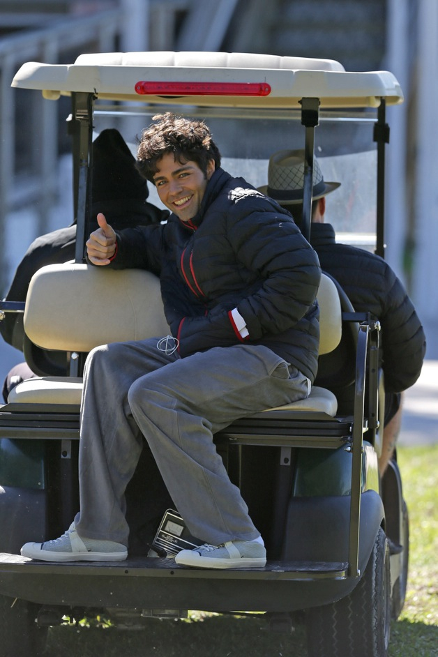 Adrian Grenier and Kevin Dillon arrive on the set of 'Entourage' in Miami