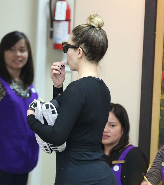 Kim Kardashian goes casual for a day at the nail salon in Los Angeles