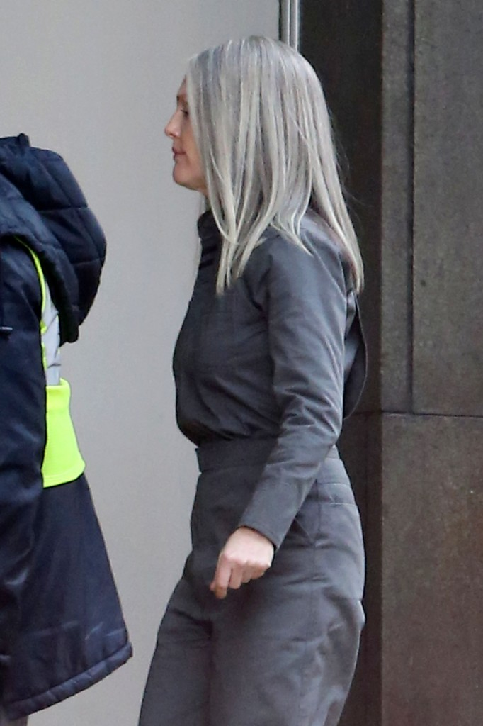 **EXCLUSIVE** Julianne Moore is seen in costume with gray hair as she arrives on the set of 'The Hunger Games: Mockingjay Part 2'
