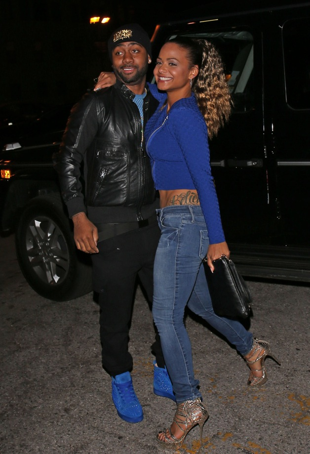 Singer Christina Milian arrives at Supperclub with boyfriend Jazz in West Hollywood