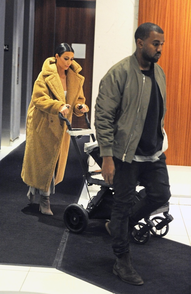 Kim Kardashian and Kanye West seen with son North in New York City
