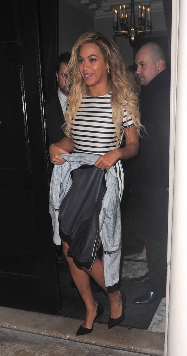 Beyonce Knowles seen leaving the Arts Club in Mayfair, London