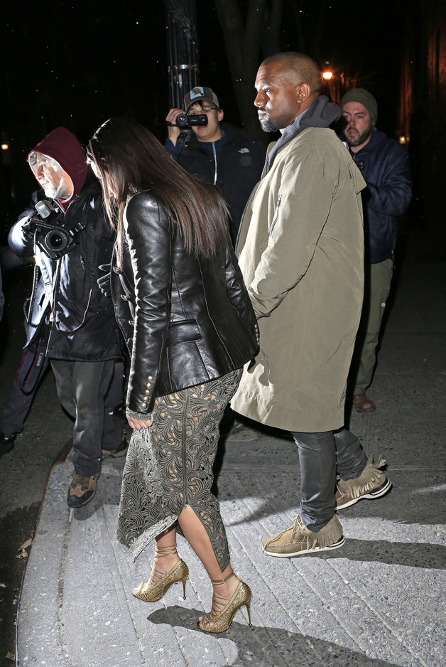 Kim Kardashian and Kanye West seen leaving the Waverly Inn after celebrating their Vogue cover dinner with Anna Wintour in New York City