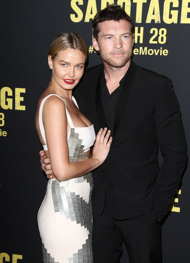 Sam Worthington, Lara Bingle attends the premiere of 'Sabotage' in LA