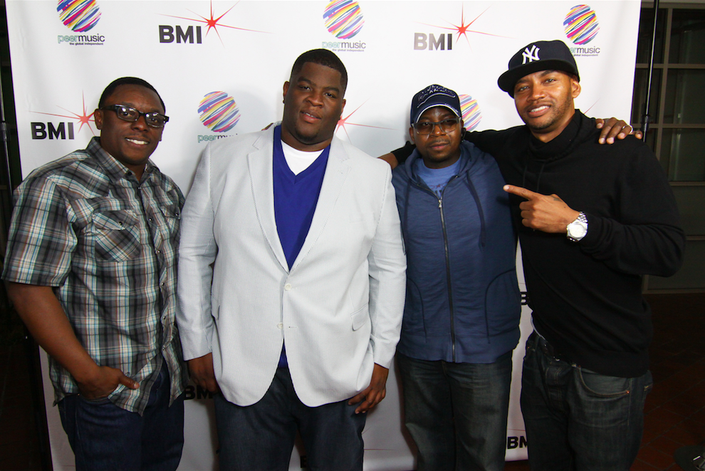 """Pictured at peermusic's Burbank office (L-R) are: BMI Senior Director Writer/Publisher Relations, Malik Levy, Salaam Remi, Mike City and Director of A&R Pop/Urban, Vincent """"Tuff"""" Morgan."""