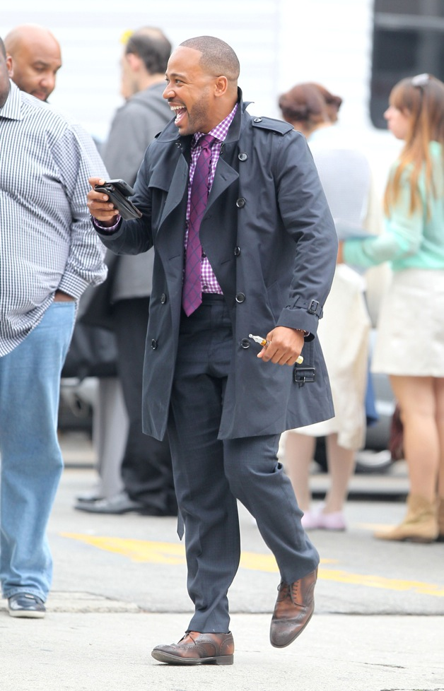 Columbus Short gets back to work on the set of 'Scandal', after being seen for the first time since news broke of a bloody bar fight the star was involved in on March 15th