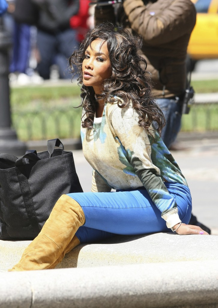 EXCLUSIVE: Kenya Moore and Vivica Fox seen filming for Celebrity Apprentice show in New York City