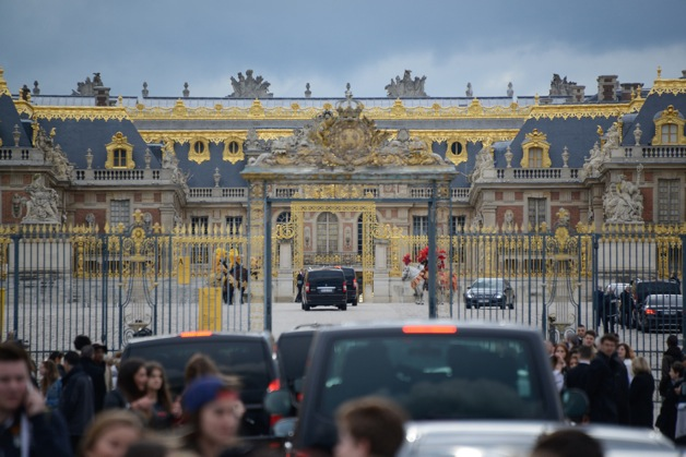 Guests and Kim Kardashian and Kanye West seen arriving for their wedding at Palace of Versailles