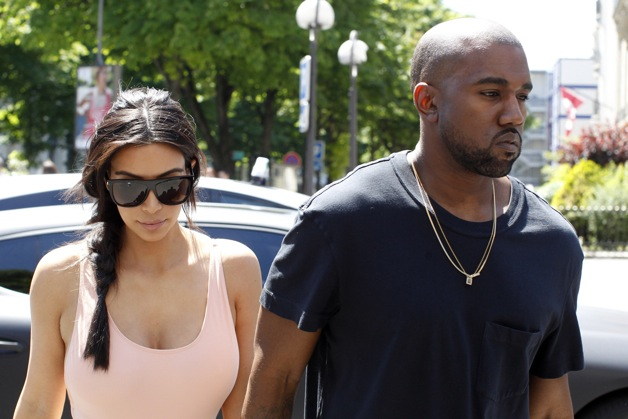 Kim Kardashian and Kanye West seen at the Miu Miu store and then go out for lunch at L'Avenue at Champs-…lysÈes in Paris.