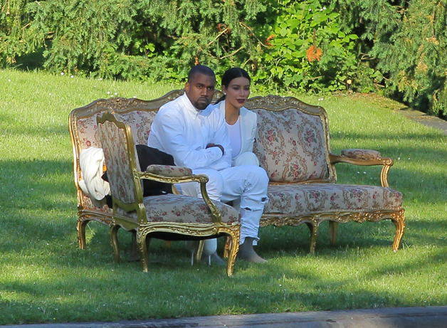 EXCLUSIVE: Kim Kardashian and Kanye West spend some time at the garden of Ploskovice Castle in Prague