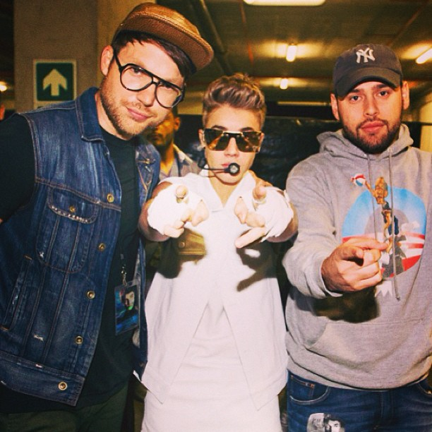 Justin, Judah and Scooter backstage at concert.