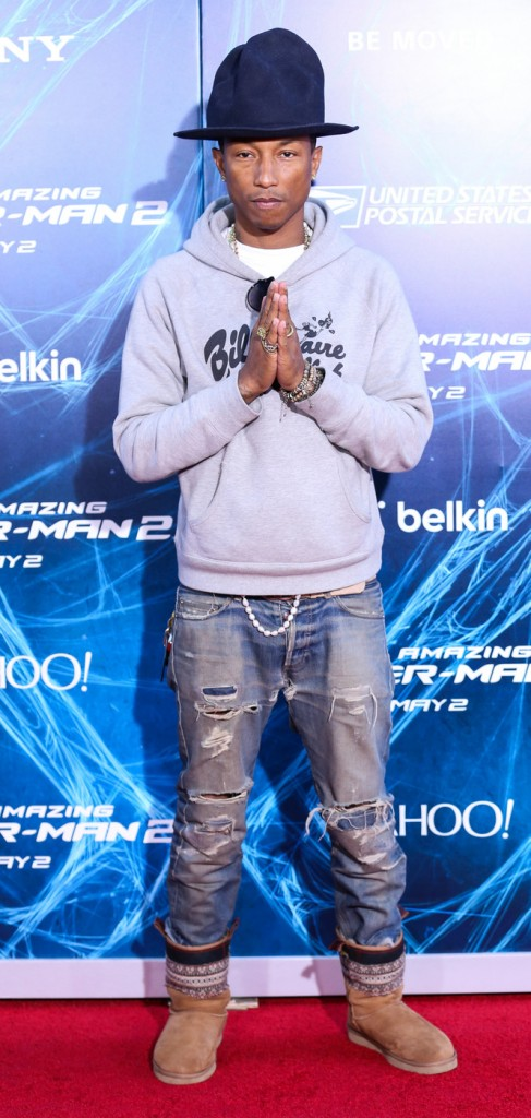 Pharrell Williams arrives at the New York Premiere Of Sony Pictures' 'The Amazing Spider-Man 2' held at Ziegfeld Theater in New York City