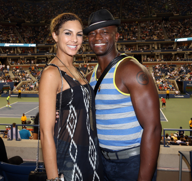 EXCLUSIVE: Actor Taye Diggs and his new girlfrend  Amanza Smith Brown could not keep their hands off each other on Monday night while in the VIP Moet suite during day 8 action of the US Open tennis Championships in New York