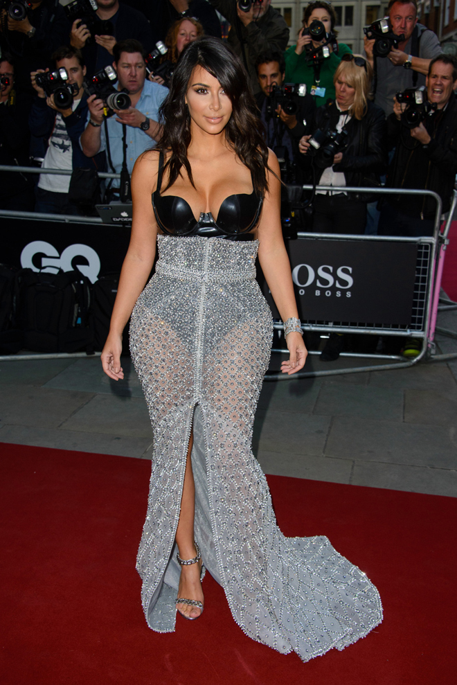 Kim Kardashian and Kanye West attend the GQ Men Of The Year Award at Royal Opera House in London