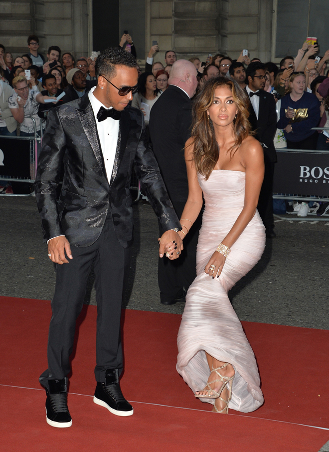 Lewis Hamilton and Nicole Scherzinger attend the GQ Men Of The Year Award at Royal Opera House, Covent Garden in London