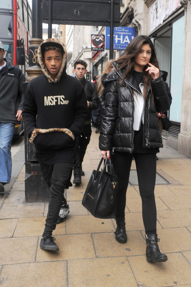 Kylie Jenner and Jaden Smith stroll down the street after lunching at Cafe Nero in London together