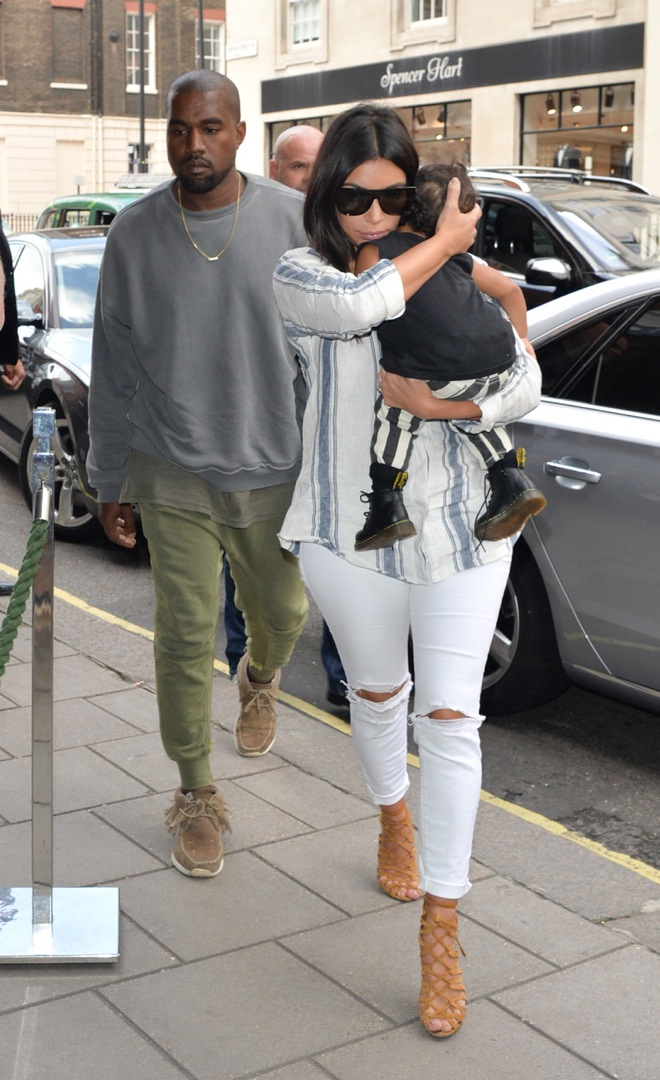 Kim Kardashian and Kanye West arrive at London Hotel with their daughter North West in London