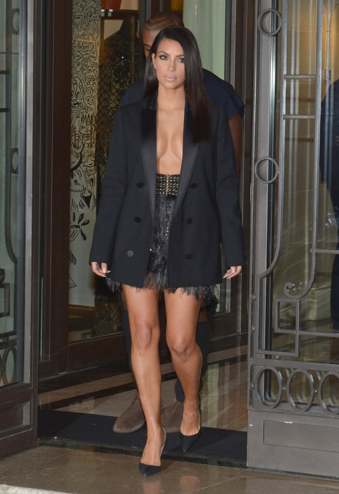 Kim Kardashian and Kanye West seen out and about in Paris