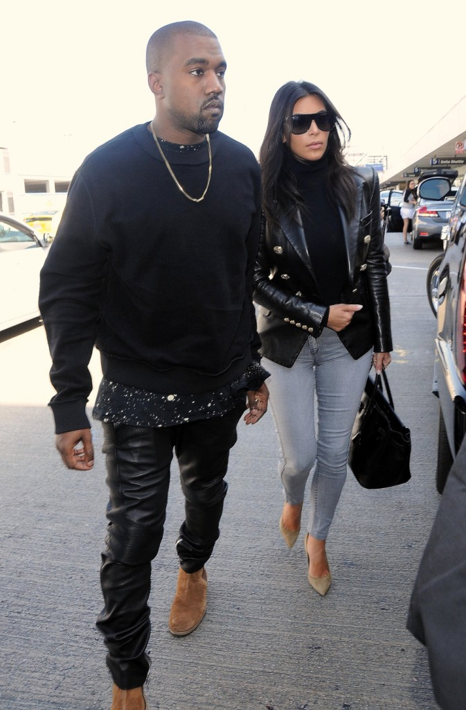 Kim Kardashian and her husband Kanye West seen leaving te LAX airport in Los Angeles