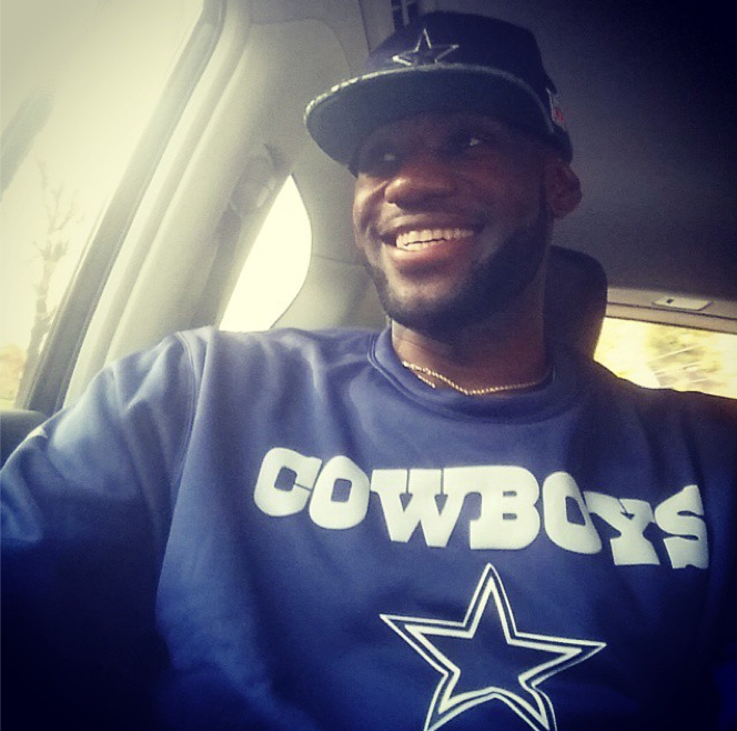 "NBA star LeBron James is a huge Cowboys fan. This weekend, following the team's 30-23 victory against the Seahawks, James wrote on Instagram: When someone say ""Man your Cowboys stink!!"" I say ""Yeah I know we do sitting at 5-1. Hahaha"" #WeDemBoyz #StriveForGreatness."