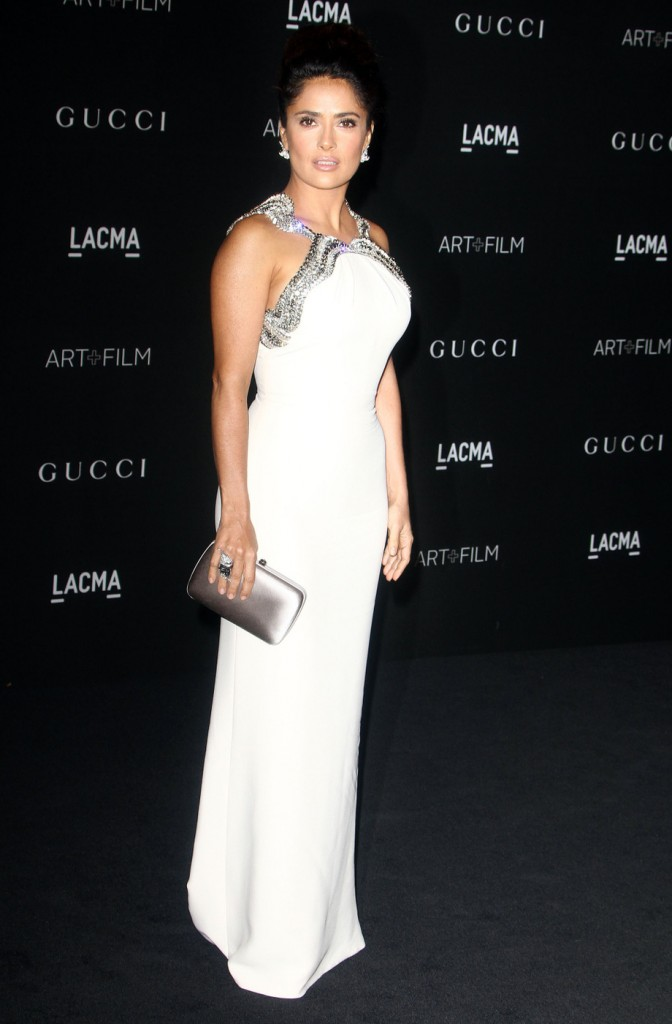 Salem Hayek served up the sexy in this white gown.