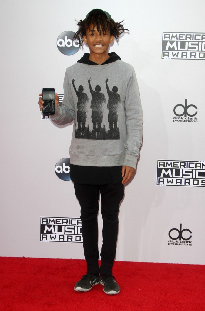 Jaden Smith with silly faces on the red carpet.
