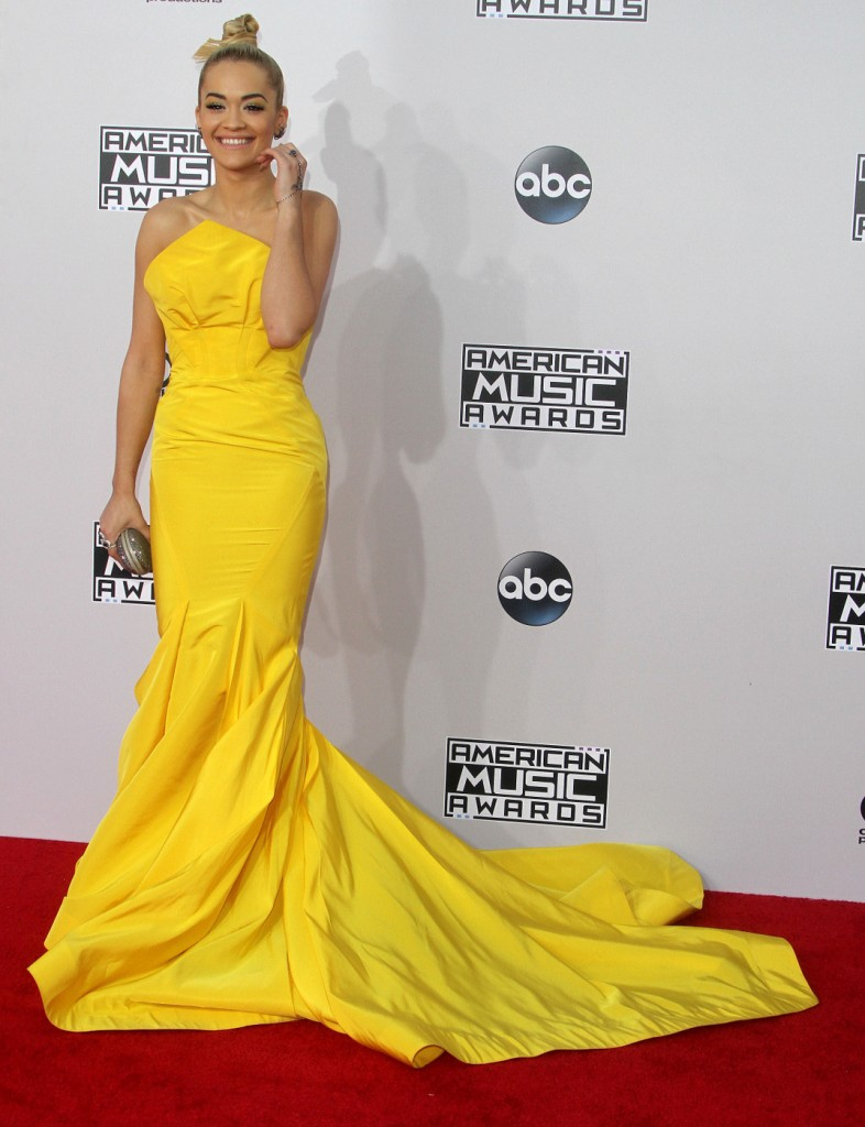 Bright as the sun...Rita Ora stood out in the yellow number.