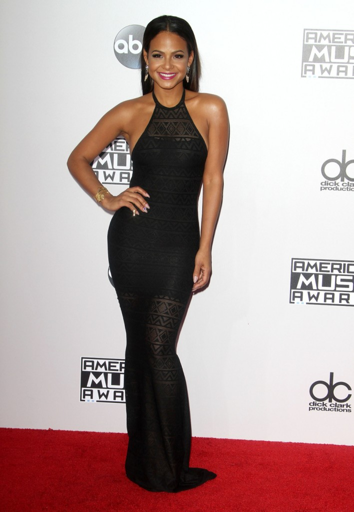 Skin tight and floor length for Christina Milian